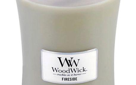 Svíčka s vůní jantaru, vetiveru a pižma WoodWick Oheň v krbu, dobahoření130hodin