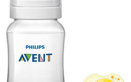 AVENT Kojenecká láhev Classic+ 260 ml + Šidítko noční 0-6m, 2 ks