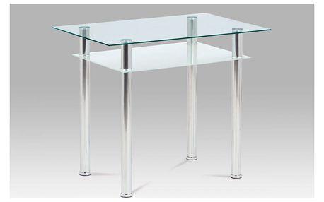 Jídelní stůl 90x60 cm, sklo + chrom GDT-111 CLR Autronic