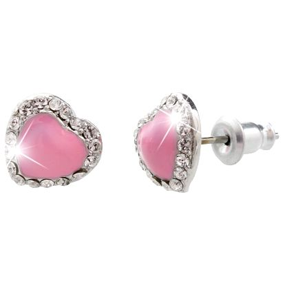 Růžové náušnice se Swarovski Elements Laura Bruni Heart Time Pink