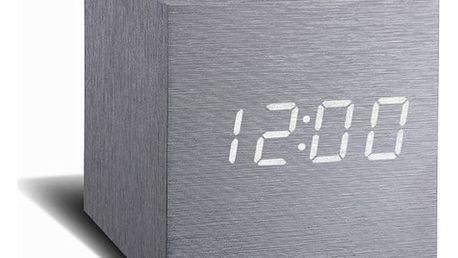 Šedý budík s bílým LED displejem Gingko Cube Click Clock