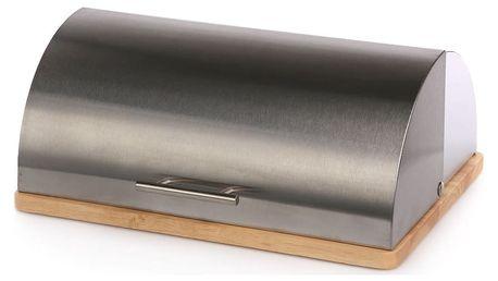 Chlebník nerezový na dřevěné desce 39 x 28 cm