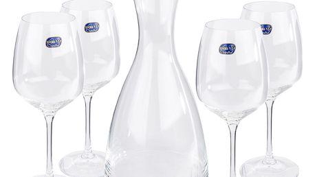 Bohemia Crystal Sklenice na víno 4 ks s karafou Giselle, 1200 ml