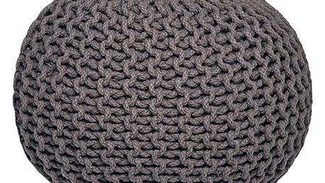 Antracitový pletený puf LABEL51 Knitted,Ø50cm - doprava zdarma!