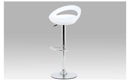 Barová židle AUB-403 WT bílý plast / chrom Autronic