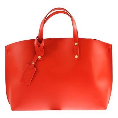 Červená kožená kabelka Chicca Borse City - doprava zdarma!