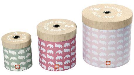 Sada 3 růžových boxů Done by Deer Round