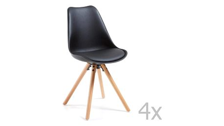 Sada 4 černých jídelních židlí s dřevěným podnožím La Forma Lars - doprava zdarma!
