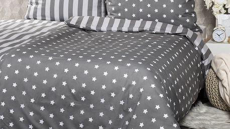 4Home Bavlněné povlečení Stars šedá, 220 x 200 cm, 2 ks 70 x 90 cm