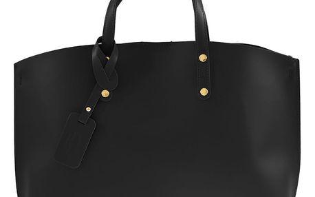 Černá kožená kabelka Chicca Borse City - doprava zdarma!