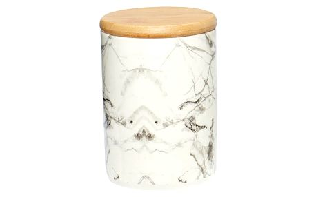 Bílá porcelánová dóza Hübsch Marble, výška13cm
