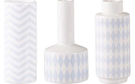 Sada 3 keramických modro-bílých váz KJ Collection Niels