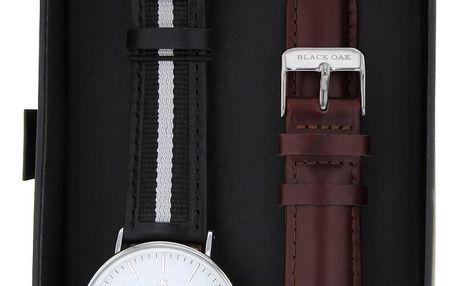 Set černých pánských hodinek s řemínky Black Oak Stripe White