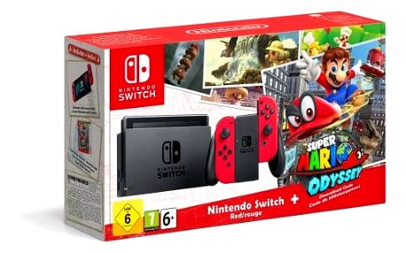 Herní konzole Nintendo Switch s Joy-Con - šedá/ červená + Super Mario Odyssey (NSH020) šedá/červená + DOPRAVA ZDARMA