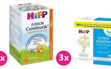 4x HIPP 4 BIO Combiotik (900 g) + 3x HIPP Babysanft vlhčené ubrousky 4x52 ks