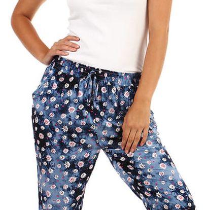 Volné batikované kalhoty s potiskem modrá
