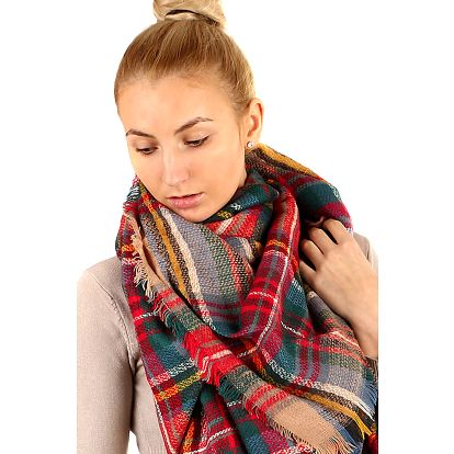Kostkovaný maxi šátek červená