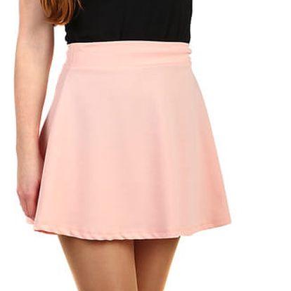Jednobarevná krátká sukně světle růžová