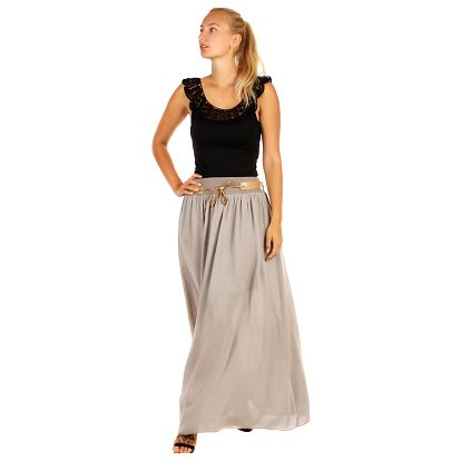 Jednobarevná maxi sukně s kapsami tmavě béžová