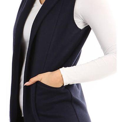 Dámská vesta bez zapínání - i pro plnoštíhlé tmavě modrá
