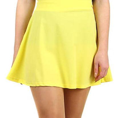 Jednobarevná krátká sukně žlutá