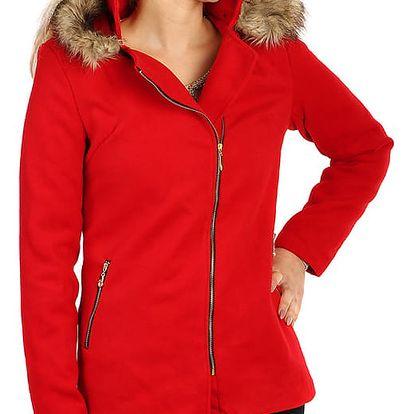 Červený kabátek s asymetrickým zipem