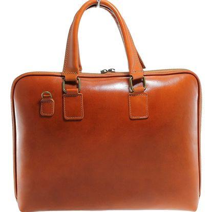 Koňakově hnědá kožená taška Chicca Borse Noel - doprava zdarma!