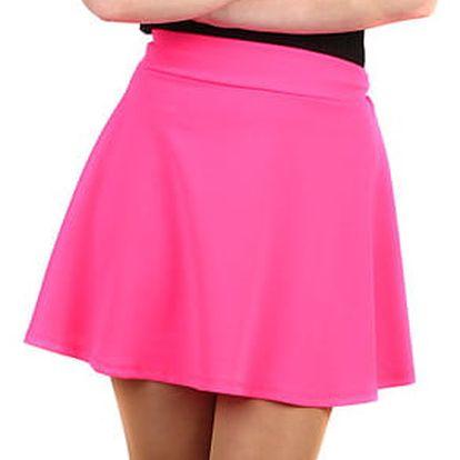 Jednobarevná dámská krátká sukně neon růžová