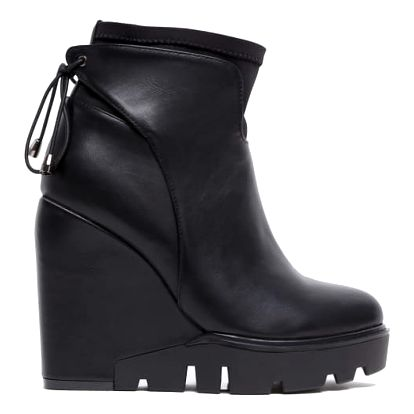 Dámské černé lesklé kotníkové boty Kaira 3033a