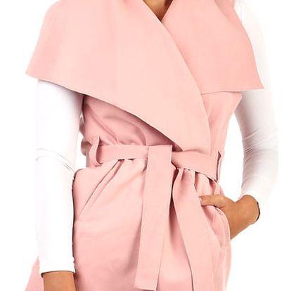 Dámská vesta se širokým límcem a páskem růžová