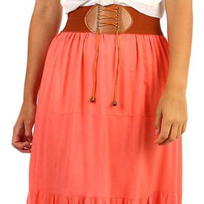 Jednobarevná maxi sukně s ozdobným pasem lososová