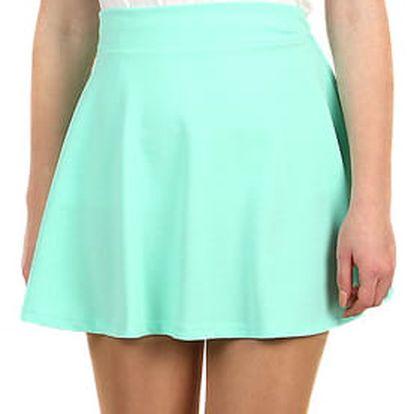 Jednobarevná krátká sukně tyrkysová