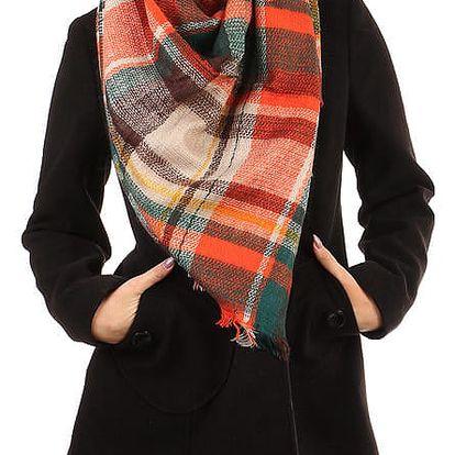 Kostkovaný maxi šátek oranžová