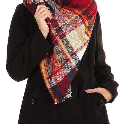 Kostkovaný maxi šátek béžová