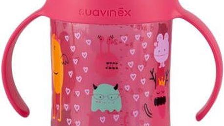 SUAVINEX Druhá lahvička s oušky Booo Nerozlitná savička 270 ml (+4m) – růžová