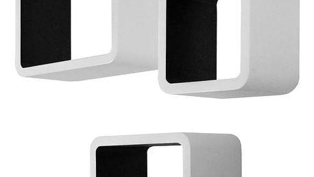 Sada 3 černobílých nástěnných polic Intertrade Cubo