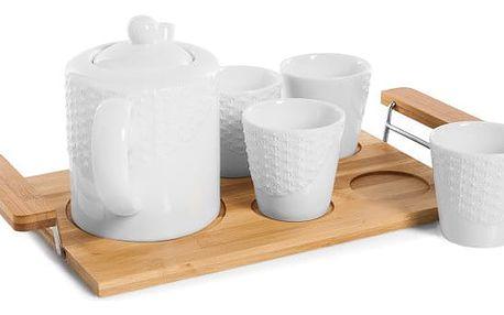 Porcelánový čajový set s bambusovým podnosem Bambum Siam
