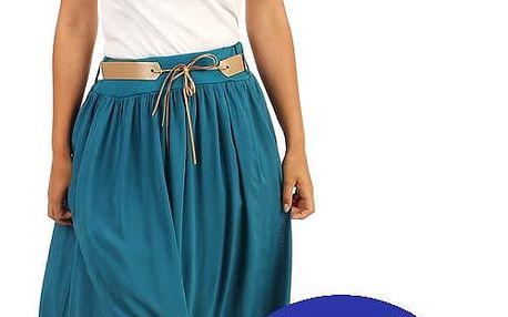 Jednobarevná maxi sukně s kapsami tmavě modrá