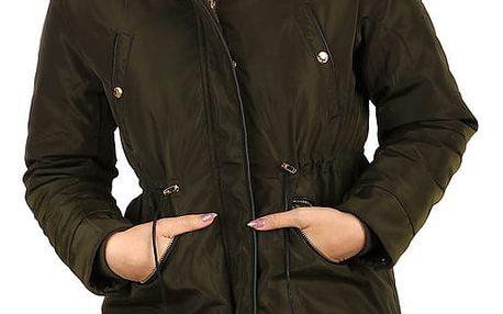 Lesklá dámská bunda - i pro plnoštíhlé zelená