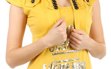Moderní bolerko s krátkým rukávem II.jakost žlutá