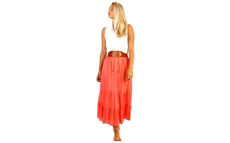 Dámská maxi sukně s ozdobným pasem lososová