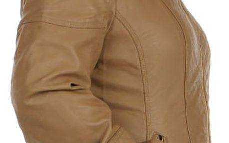 Koženková bunda s prošívanými částmi béžová