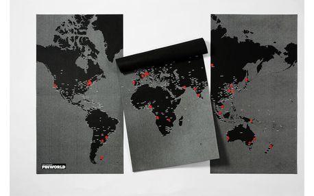 Černá nástěnná mapa světa Palomar Pin World XL, 198x124cm - doprava zdarma!