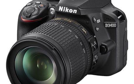 Digitální fotoaparát Nikon D3400 + 18-105 AF-S DX VR + 4x čištění čipu zdarma (VBA490K003) černý + DOPRAVA ZDARMA