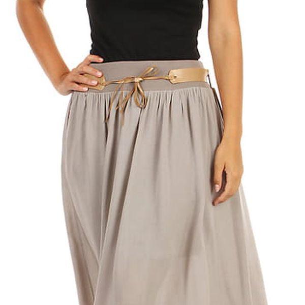 Dámská maxi sukně s kapsami tmavě béžová