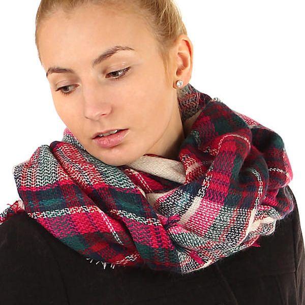 Kostkovaný maxi šátek růžová