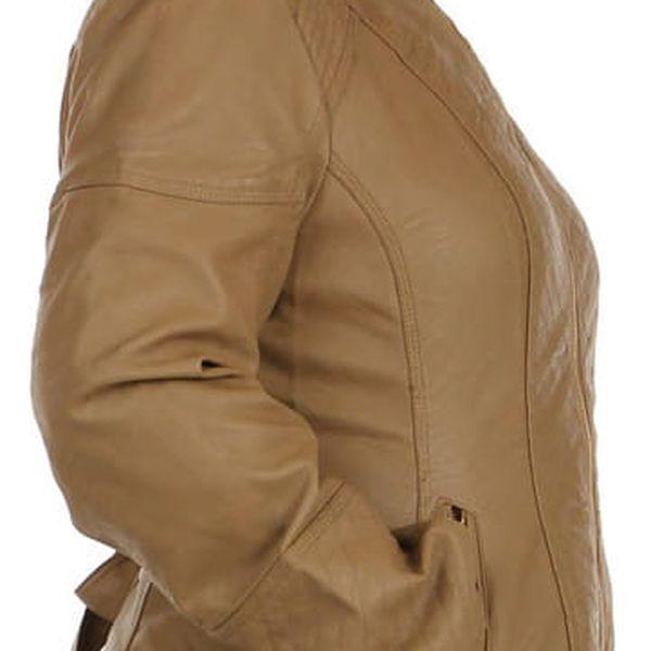 Dámská koženková bunda-i pro plnoštíhlé béžová