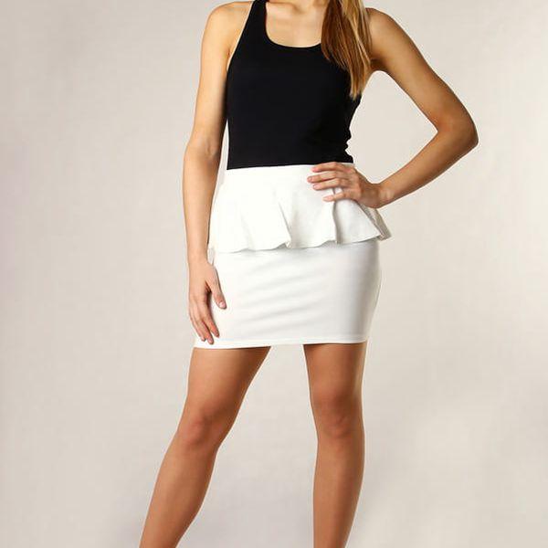 Dámská sukně s volánkem vysoký pas II.jakost bílá