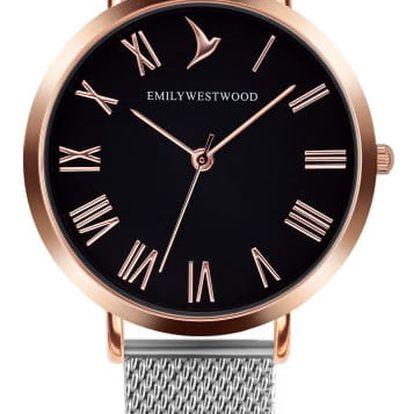 Dámské hodinky s páskem z nerezové oceli ve stříbrné barvě Emily Westwood Go