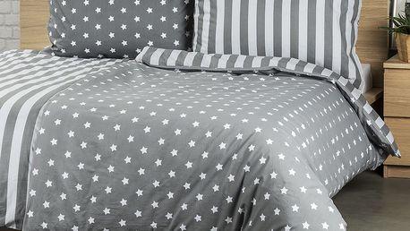 4Home Bavlněné povlečení Stars šedá, 140 x 220 cm, 70 x 90 cm